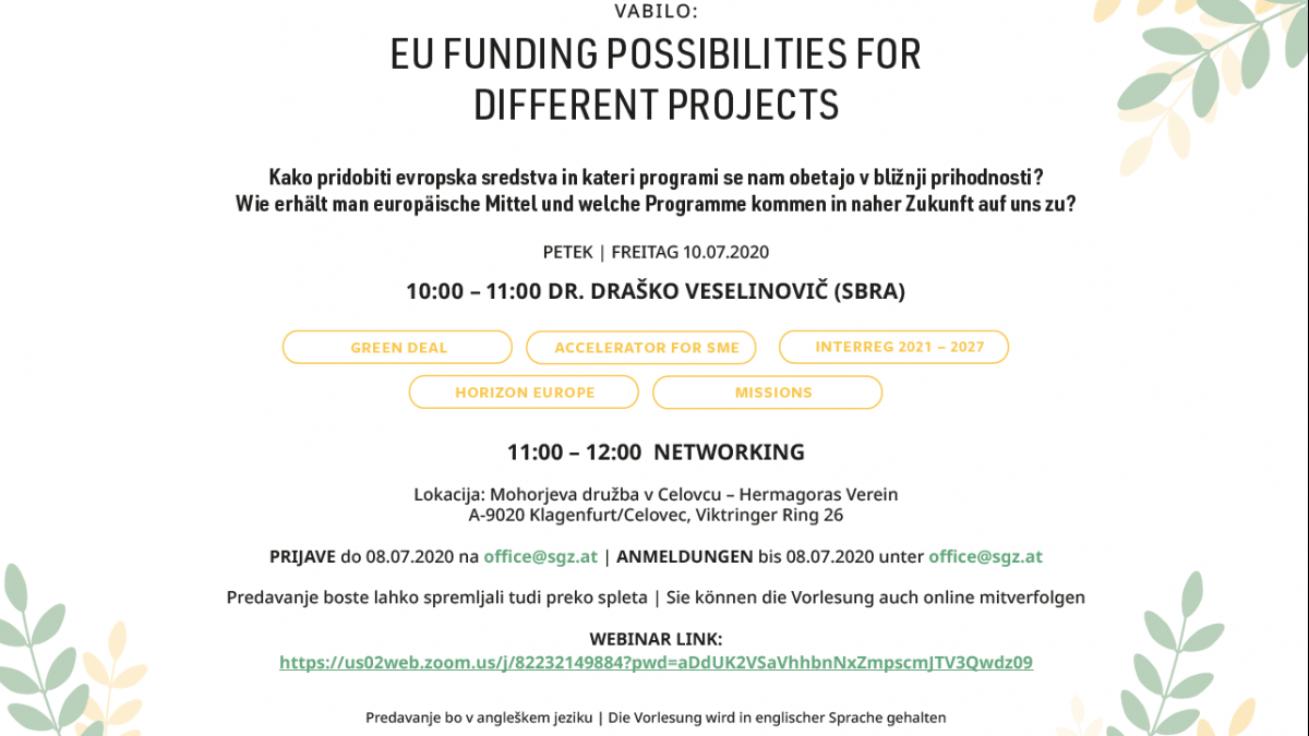 Slika: Webinar: EU-funding possibilities for different projects