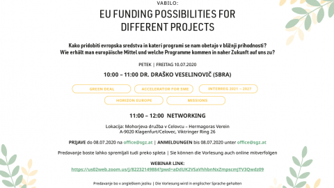 Slika: Webinar: EU-funding possibilities for different projects