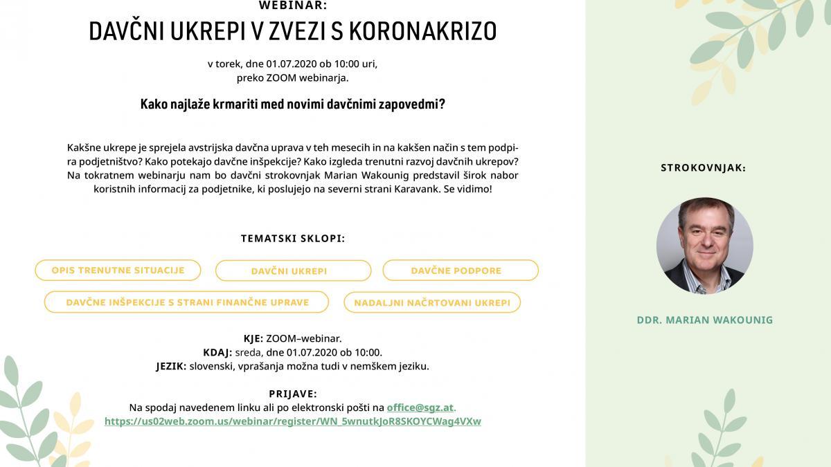Slika: Webinar: Davčni ukrepi v zvezi s koronokrizo