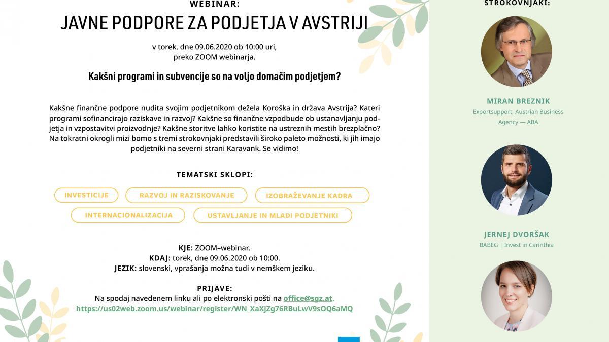 Slika: Webinar: Javne podpore za podjetja v Avstriji