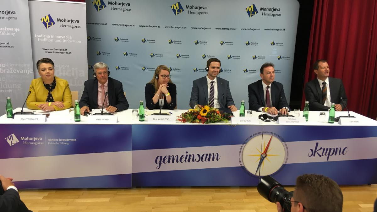 Slika: Olga Voglauer, Peter Kaiser, Helena Jaklič, Igor Zorčič, Nikolaus Berlakovich in Karl Hren