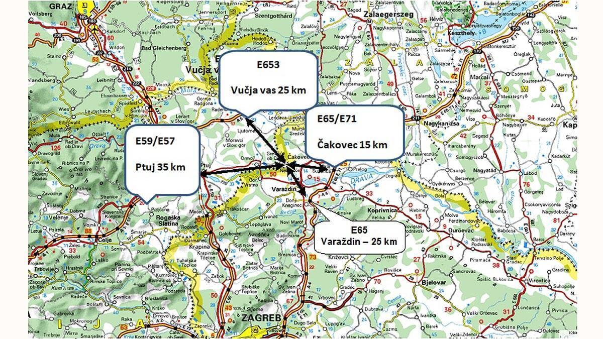 Slika: Razdalje do avtocestnih povezav in lega cone v Sloveniji